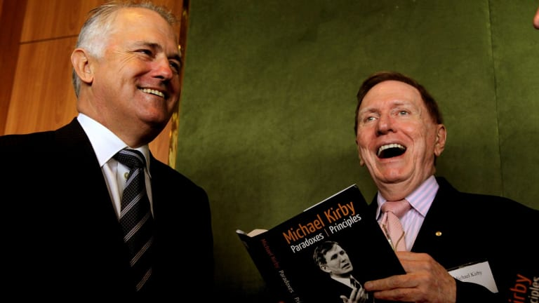 """""""My friend Malcolm Turnbull was much better in those days"""": former High Court judge Michael Kirby, right."""