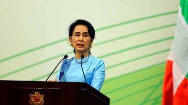 Unde pressure: Myanmar Foreign Minister and de-facto leader Aung San Suu Kyi last week.