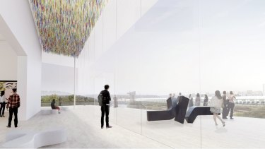 Design concepts for the Art Gallery of NSW's Sydney Modern Project by winning architects Kazuyo Sejima + Ryue Nishizawa / SANAA.