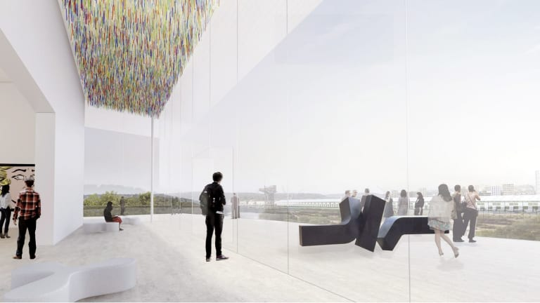 Design concepts for the Art Gallery of NSW's Sydney Modern Project by winning architects Kazuyo Sejima + Ryue Nishizawa / SANAA.