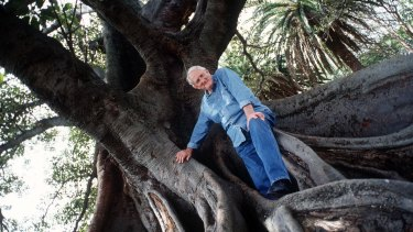 Tom Uren in a park in Balmain, where he loved to walk along the foreshore and streets.