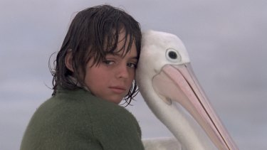 Greg Rowe with Mr Percival in the 1976 film <I>Storm Boy</I>.