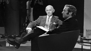 British television personality David Frost, right, during an interview with Australian Prime Minister Billy McMahon in 1972.