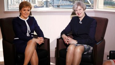 Britain's Prime Minister Theresa May, right, and Scotland's First Minister Nicola Sturgeon in March.