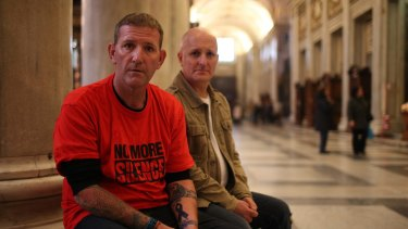 Paul Levey and Andrew Collins, victims of child abuses involved in the Cardinal Pell case inside the Cathedral of Santa Maria Maggiore.