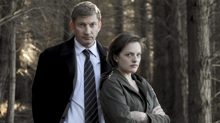 David Wenham with Elisabeth Moss in season one of Jane Campion's <i>Top of the Lake.</i>
