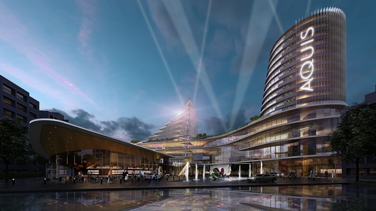 Artist's impression of the Aquis development (view of the rebuilt Casino Canberra standing with back to Glebe Park).