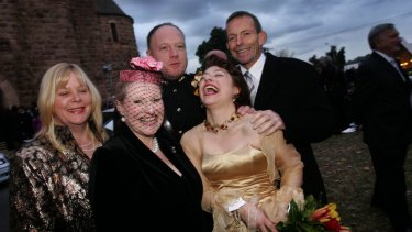 Bronwyn Bishop and Tony Abbott, right, at the wedding of Greg and Sophie Mirabella, for which Bishop and other politicians requested payment to travel to.