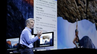 Craig Federighi, Apple senior vice president of Software Engineering, talks about the El Capitan operating system at the Apple Worldwide Developers Conference in San Francisco.