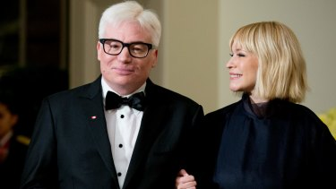 Canadian actor Mike Myers and his wife, Kelly, arrive for the dinner in honour of Canadian Prime Minister Justin Trudeau.