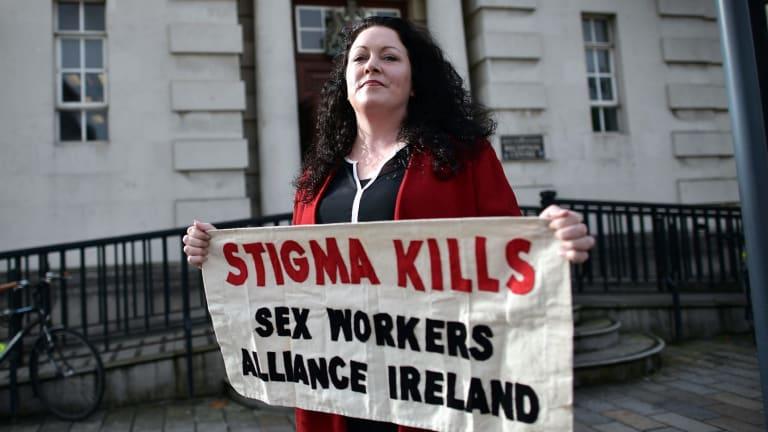 Laura Lee outside Belfast High Court in September.