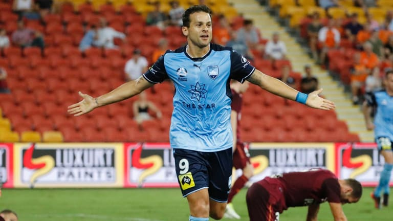 In charge: Sydney FC's Bobo celebrates after scoring at Suncorp Stadium in Brisbane on Monday.