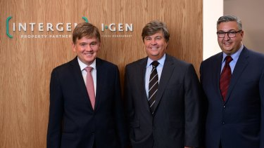 Trevor Hardie has joined Intergen Property Group to establish a $200 million fund for wholesale clients. From left, Murray Bell, Trevor Hardie and Dennis Kalofonos.