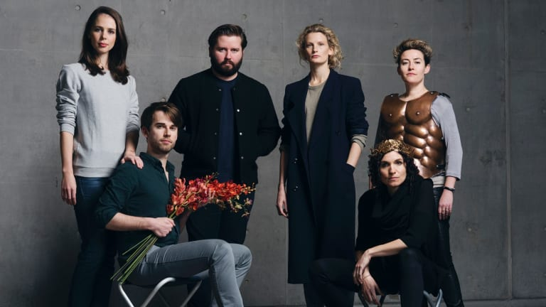 Daring: Kip Williams and Elizabeth Gadsby flanked by cast Anna Dowsley, Jeremy Kleeman, Jane Sheldon (standing) and Jessica O'Donoghue.