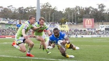 Good enough facilities: Semi Radradra scores at Canberra Stadium.