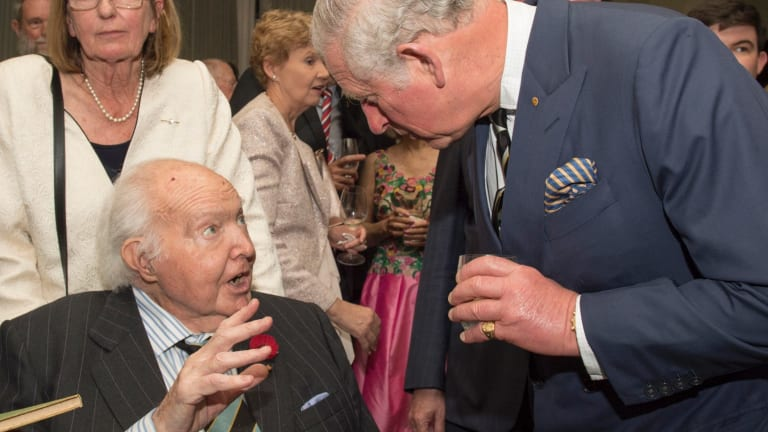 Michael Collins Persse meets his former pupil, Prince Charles, in April, 2018.