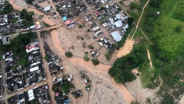 An aerial view of a portion of Mocoa, Colombia on Saturday after an avalanche of water swept through the city as people slept.