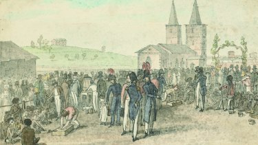 Governor Lachlan Macquarie introduced the annual 'Native Feasts' in 1814 to promote the Native Institution to Aboriginal people, who were invited to town to gather near St John's Cathedral. Aboriginal people were given roast beef, bread and ale.