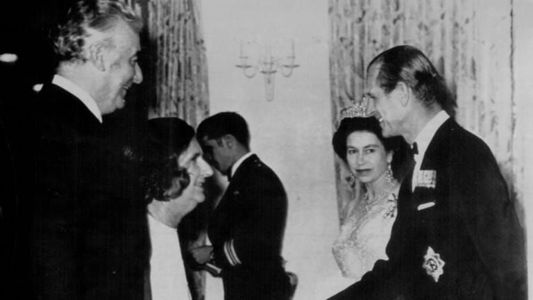 Queen Elizabeth and Prince Philip meeting Gough and Margaret Whitlam at a state dinner in Canada in 1973.