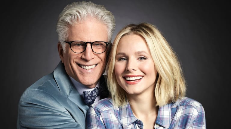 Ted Danson as Michael, Kristen Bell as Eleanor in 'The Good Place'.