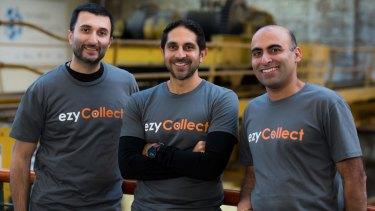 "Chasing payment: EzyCollect co-founders Jimmy Cooper, Raj Kuckreja and Arjun ""AJ"" Singh."