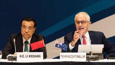 Australian Prime Minister Malcolm Turnbull with Chinese Premier Li Keqiang in Sydney.