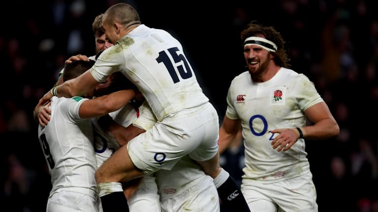 Ben Youngs celebrates with his teammates.
