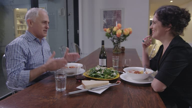 Malcolm Turnbull and Annabel Crabb on the ABC's Kitchen Canbinet.
