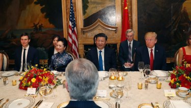 US President Donald Trump and Chinese President Xi Jinping at dinner at Mar-a-Lago earlier this month.