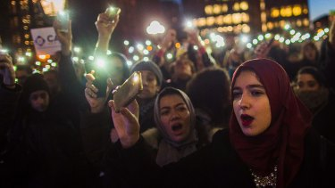 Muslim women during a New York protest against President Donald Trump's order banning refugees and visitors from some Muslim countries.