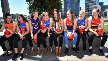 Class of 2017: AFLW top 8 draft picks (left to right) Jodie Hicks - GWS, Monique Conti - Western Bulldogs, Stephanie Cain - Fremantle, Isabelle Huntington - Western Bulldogs, Chloe Molloy - Collingwood, Eden Zanker - Melbourne, Jordan Zanchetta - Brisbane, Jess Allen - Adelaide.