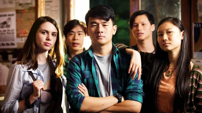 Ronny Chieng (centre) in 'Ronny Chieng - International Student' on Comedy Showroom.