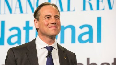High hopes: Greg Hunt speaking at the AFR Innovation Summit in August.