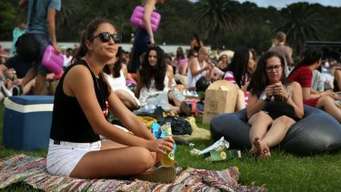 The crowd waits for Tropfest to start on Sunday.