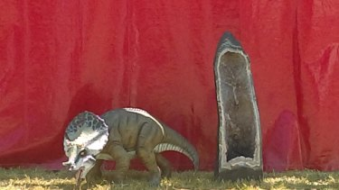 Plod the dinosaur who went missing at the National Folk Festival in Canberra.