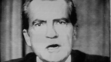 President Nixon appears on nationwide television to announce his resignation.