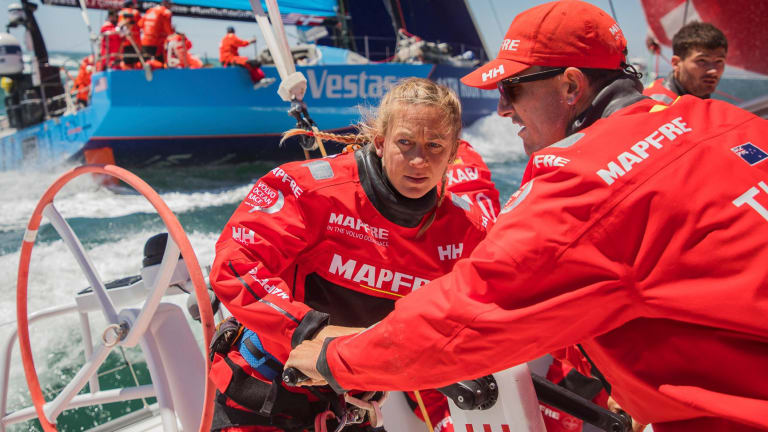 Sophie Ciszek and Blair Tuke during leg three of the Volvo Ocean Race.