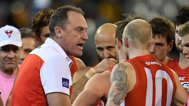 Litmus test: Swans coach John Longmire is wary of Adelaide's ability to pile on goals.