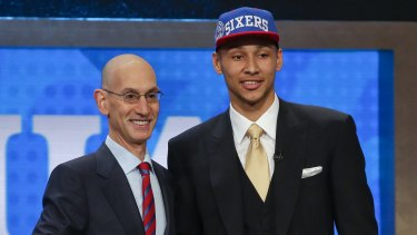 Ben Simmons with NBA Commissioner Adam Silver after being selected as the top pick by the Philadelphia 76ers.