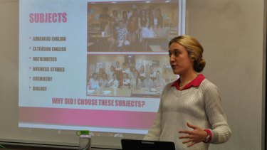 Young scientist Ashleigh Morgan addresses students at The Hills Grammar School, Kenthurst.