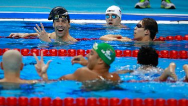 Michael Phelps, top left, was in a three-way dead heat.