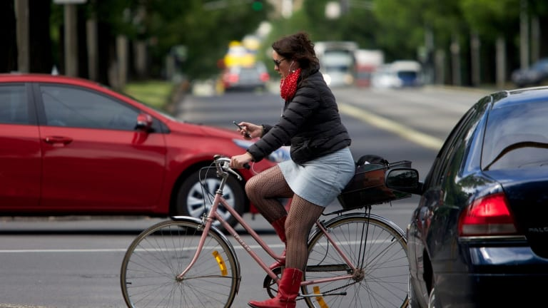 A cyclist behaving badly on Royal Parade in Melbourne's north.