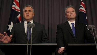 Treasurer Joe Hockey and Finance Minister Senator Mathias Cormann at the release of their budget update.