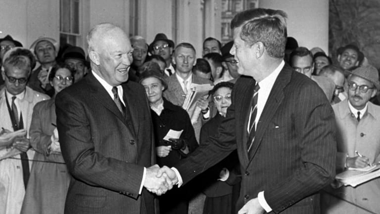 Then US president Dwight Eisenhower with president-elect John F. Kennedy in 1960. Eisenhower, a former general, feared the military's growing influence.