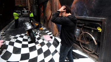 Artist Vincent fantauzzo, outraged that council has started the removal of his laneway.