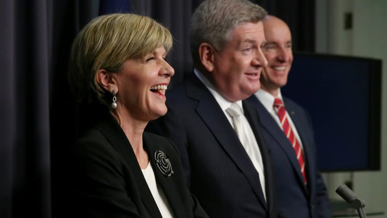 Foreign Affairs Minister Julie Bishop, Minister for Communications Mitch Fifield and Minister for Veterans' Affairs Stuart Robert mention Hollywood actor Chris Hemsworth during a press conference at Parliament House.