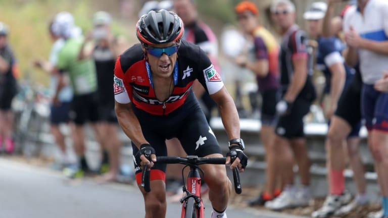 Racing BMC's Richie Porte wins the climb into Willunga at the Tour Down Under.