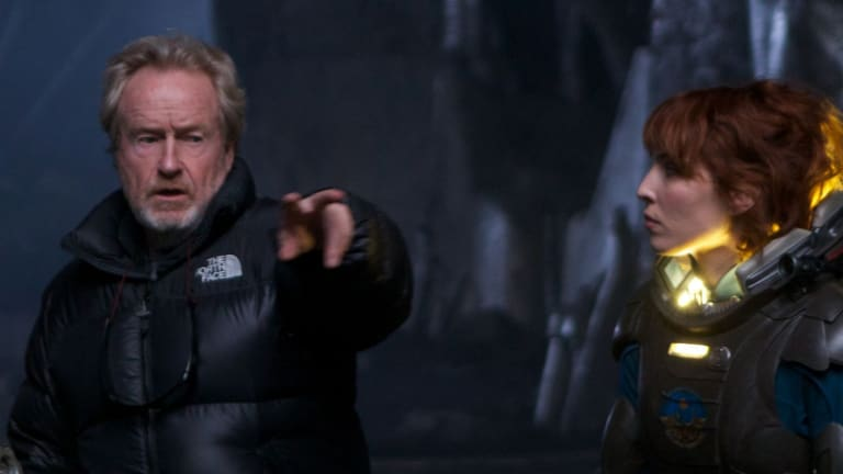 Director Ridley Scott on the set of <em>Prometheus</em> with Noomi Rapace.