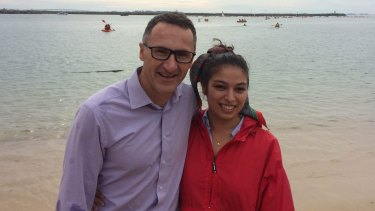 Clara Williams Roldan with Greens leader Richard di Natale.