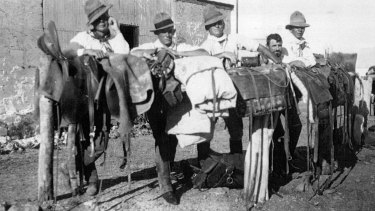 Stockmen from cattle stations owned by cattle baron Sir Sidney Kidman in the early 20th century.